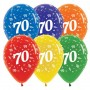 Teardrop Crystal Multi Coloured 70th Birthday Latex Balloons 30cm Pack of 25