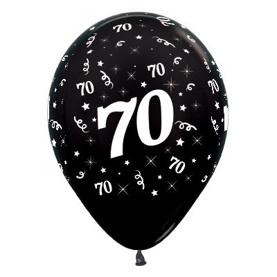 70th Birthday Latex Balloons 30cm Metallic Pearl Black Pack Of 25 1829