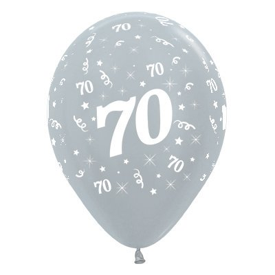 70th Birthday Latex Balloons 30cm Metallic Pearl Silver Pack Of 6 473 592