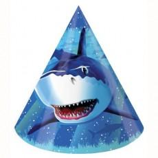 Shark Splash Party Hats Blue Pack of 8