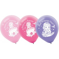 Sofia The First Latex Balloons 28cm Pink & Purple Pack of 6