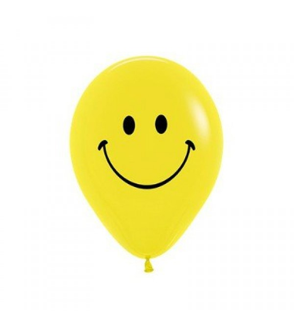 Emoji Latex Balloons 30cm Yellow Smiley Face Pack of 12