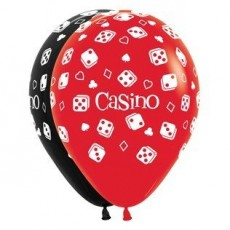 Casino Night Latex Balloons 30cm Black & Red Pack of 12
