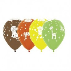 Jungle Animals Latex Balloons 30cm Fashion Pack of 12