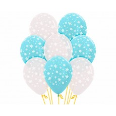 Teardrop Crystal Clear & Satin Pearl Blue Christmas Snowflakes Latex Balloons 30cm Pack of 50