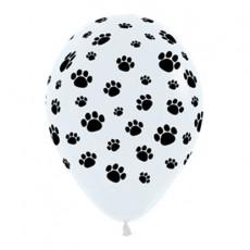 Teardrop Black & White Dog Animal Paw Prints Latex Balloons 30cm Pack of 12