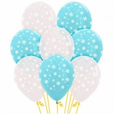 Christmas Party Decorations - Latex Balloons Snowflakes Clear & Blue 12pk