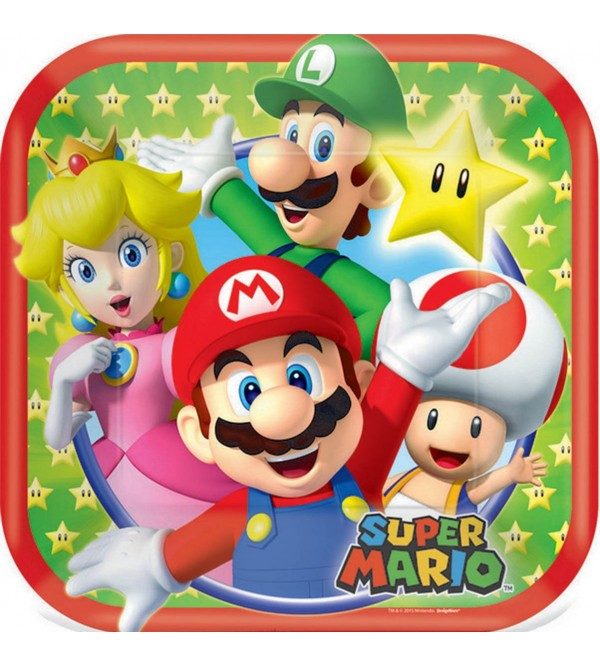 Square Super Mario Paper Lunch Plates 17cm Pack of 8