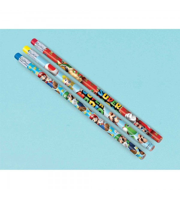 Super Mario Pencil Favours Pack of 12