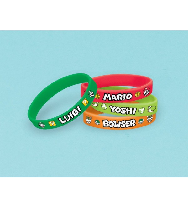 Super Mario Rubber Bracelets Favours Pack of 6