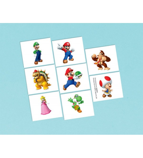 Super Mario Tattoos Favours 5cm x 4cm Pack of 8