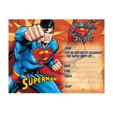Superman Invitations Pack of 8