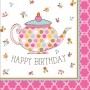 Tea Time Lunch Napkins 32.7cm x 32.3cm Happy Birthday Pack of 16