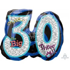30th Birthday SuperShape Holographic Oh No! Foil Balloon 66cm x 53cm