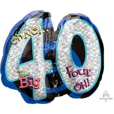 40th Birthday SuperShape Holographic Oh No! Shaped Balloon 68cm x 53cm