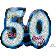 50th Birthday SuperShape Holographic Oh No... The Big 50 Shaped Balloon 66cm x 53cm