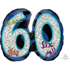 60th Birthday SuperShape Holographic Oh No! Shaped Balloon 66cm x 53cm