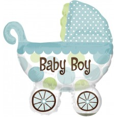 Baby Shower - General Foil Balloons Blue Baby Boy Buggy