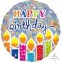 Round Happy Birthday Jumbo Holographic Shaped Balloon 81cm