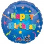 Happy Birthday Foil Balloons 45cm Blue Stars