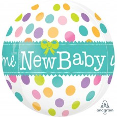 Baby Shower - General Shaped Balloons 38cm x 40cm Colourful Dots Welcome New Baby Orbz