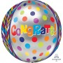 Congratulations Shaped Balloons 38cm x 40cm Dotty Geometric Congrats Orbz