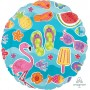 Happy Birthday Foil Balloons 45cm Summer Fun Fruit, Fish & Flamingo Round