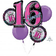 16th Birthday Sweet 16 Sparkle Bouquet Foil Balloons Pack of 5