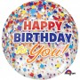 Happy Birthday Shaped Balloons 38cm x 40cm Clear Confetti Orbz