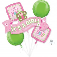 Baby Shower - General Foil Balloons Welcome Bouquet It's a Girl Pack of 5