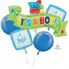 Baby Shower - General Foil Balloons Welcome Bouquet It's a Boy Pack of 5
