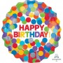 Happy Birthday Foil Balloons 71cm Rainbow Dots