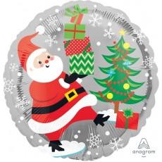 Round Christmas Standard HX Santa, Snowman & Penguins Foil Balloon 45cm