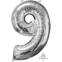 Number 9 Megaloon Foil Balloons 66cm Silver