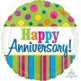 Anniversary Foil Balloons 45cm  Happy Anniversary Bright Dots & Stripes