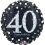 Round 40th Birthday Sparkling Celebration Standard Holographic Foil Balloon 45cm
