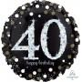 Round 40th Birthday Sparkling Celebration Jumbo Holographic Foil Balloon 71cm