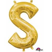 Letters Air Balloons Megaloon 40cm Gold S-Shaped Each