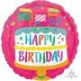 Round Happy Birthday Fancy Flags Cake Standard HX Foil Balloon 45cm