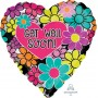 Get Well Foil Balloons 45cm Floral Graphic Get Well Soon!