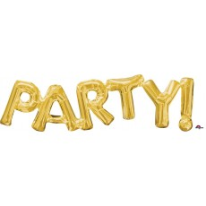 Gold PARTY! Shaped Balloon 83cm x 22cm