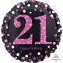 21st Birthday Foil Balloons 45cm Pink Celebration Holographic Foil