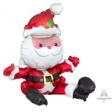 Christmas Sitting Santa Shaped Balloon 48cm x 53cm