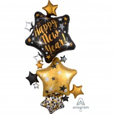 Star Stacker Giant Multi-Balloon Happy New Year! Shaped Balloon 93cm x 170cm