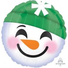Round Christmas Standard HX Snowman Emoticon Foil Balloon 45cm