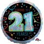 21st Birthday Foil Balloons 45cm Multi Coloured Cheers To 21 Years