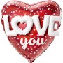 Heart Multi-Balloon Holographic Dots Love You Shaped Balloon 91cm