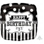 Chalkboard Foil Balloons 45cm Black & White Frame Happy Birthday
