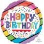 Round Happy Birthday Bright Stripes Standard HX Foil Balloon 45cm