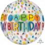 Orbz XL Rainbow Clear Happy Birthday to You Shaped Balloon 38cm x 40cm
